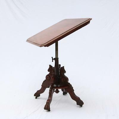Rare 1877 George W Gates Antique Drafting Table Victorian Cherry Iron Adjustable