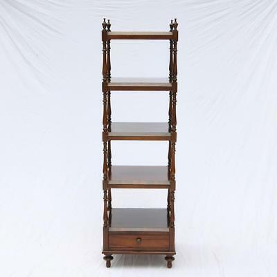 Fine quality Mahogany Whatnot / Etagere Stand Baker? Square Shelf w/ Drawer Rare