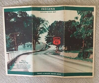 Phillips 66 1939 Road Map-Indiana