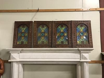 Beautiful Antique Stained Glass Carved French Doors For Hanging