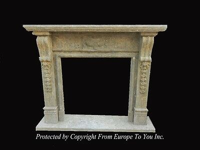 Hand Carved Antique Stone Style Fireplace Mantel - Jps602
