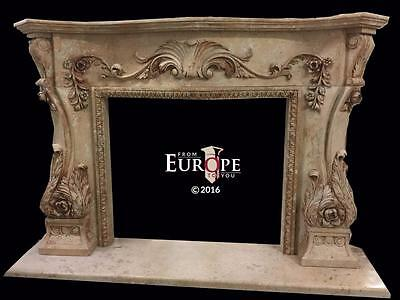 Beautiful Hand Carved Marble Cherub Massive  Fireplace Mantel - Jd200