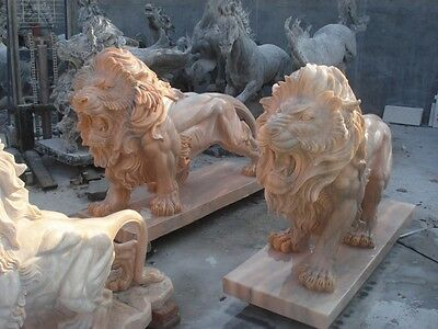 Beautiful Hand Carved Roaring Sunshine Marble Lions Ml7