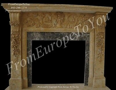 Nice Hand Carved Marble Estate Living Room Floral Fireplace Mantel