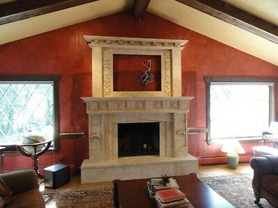 Large Hand Carved Marble T.v. Fireplace Mantel Lst037