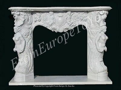 Beautiful Solid  Hand Carved Marble Estate Fireplace Mantel - Lst40