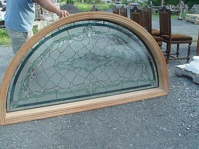 Jeweled Leaded Stained Glass Transom  Window Rep046434