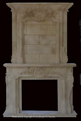 Monumental Hand Carved Marble Elk - Deer Fireplace Mantel - Em1