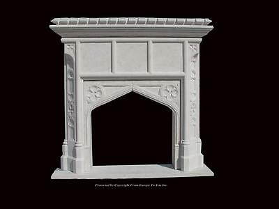 Beautiful Hand Carved Marble Gothic Design Marble Figural Fireplace Mantel Gm1