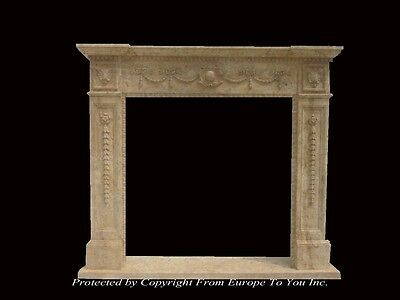 Hand Carved French Style Marble Fireplace Mantel - Fpm842