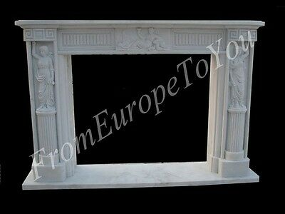 Beautiful Hand Carved Marble Figural Fireplace Mantel#8