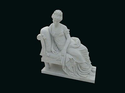 Great Hand Carved Marble Laying Women On Bench Ls1