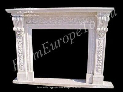 Beautiful Hand Carved Marble Fireplace Mantel Tle39