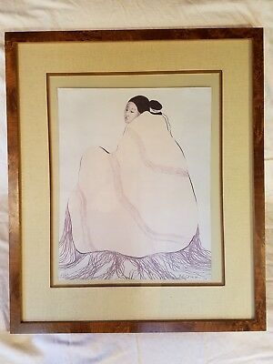 "R.C. Gorman Signed Lithograph ""Lady in a Yellow Blanket"" No. 68/100 FREE SHIP!"