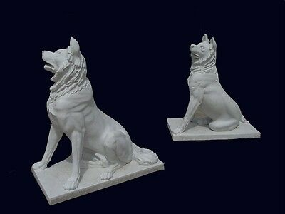 Hand Carved Solid White Marble German Shepards Lm203