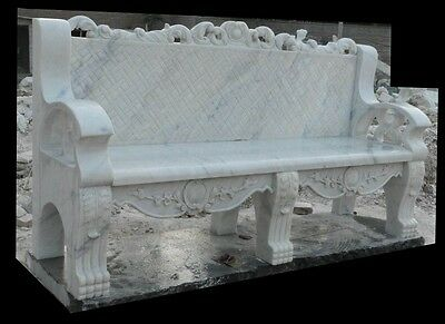 Hand Carved Hunan White  Marble Garden Bench Gb58