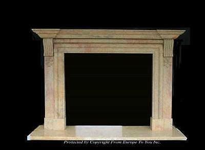Beautiful Hand Carved Marble Estate Fireplace Mantel - Jd57