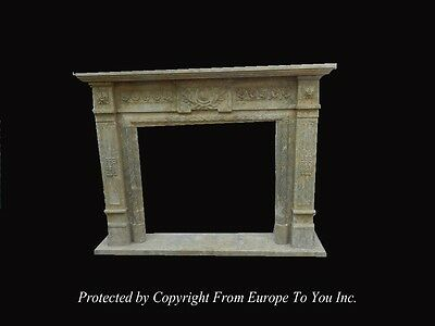 Hand Carved Antique Stone Style Fireplace Mantel - Jps603