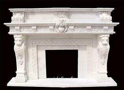 Monumental Hand Carved Marble Estate Fireplace Mantel - Fpm840