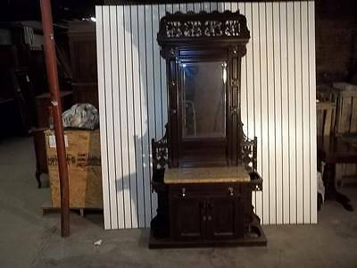 Victorian American Walnut Marble Top Original Hall Stand - Dr79
