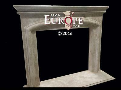 Beautiful Large Hand Carved Marble Estate Fireplace Mantel - Jd608