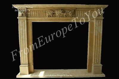 Nice Hand Carved Marble Fireplace Mantel #mby135