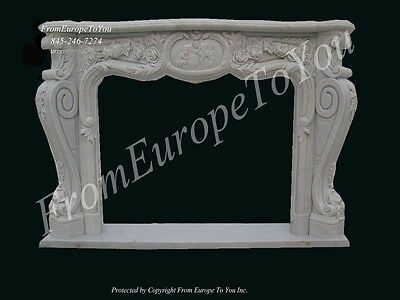 Hand Carved French Style Solid Marble Fireplace Mantel - Fpm149