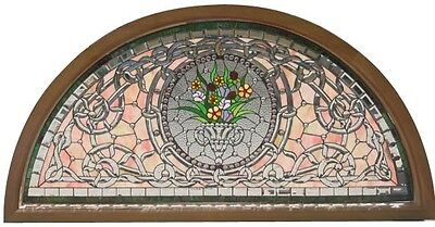 Hand Cut Stained And Jeweled Glass Victorian Style Transom Jhl60