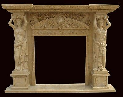 Monumental Hand Carved Marble Figural Fireplace Mantel - Mbr34