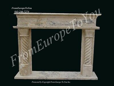 Hand Carved Travertine Marble Fireplace Mantel Tz7