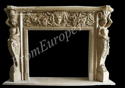 Great Figural Hand Carved Marble Fireplace Mantel #mbf078.