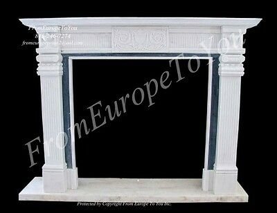 Beautiful 2 Tone Hand Carved Marble Fireplace Mantel # Tle32
