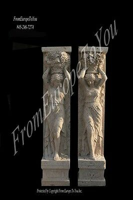 2 Beautiful Hand Carved Marble Figural Pillars