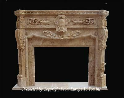 Beautiful Hand Carved Marble Fireplace Mantel - Mntl977