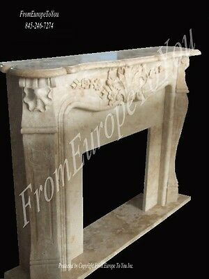 Hand Carved French Style Marble Estate Fireplace Mantel 09Mbf056