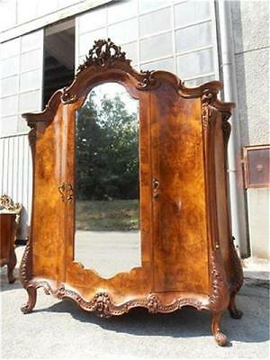 The Best Italian Burled Walnut Carved Antique Bedroom Set Armoire -12It042A