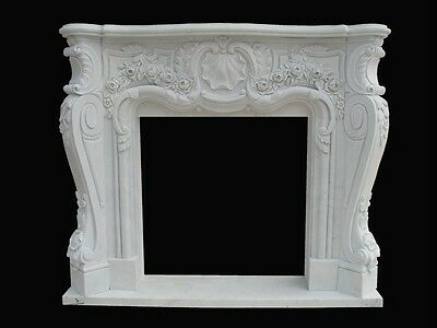 Beautiful Hand Carved Marble Fireplace Mantel Pb15