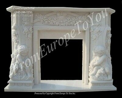 Cherub Hand Carved Marble Beautiful Fireplace Mantel #fpm148