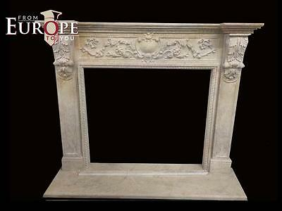 Beautiful French Style Estate Hand Carved Marble Fireplace Mantel - Jd151