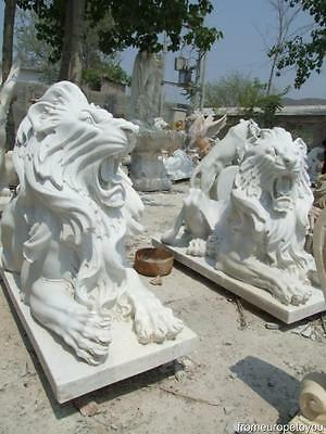 Great Set Of Hand Carved Marble Laying Lions Ly3