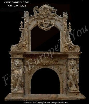 Hand Carved Lion Marble Monumental Travertine Fireplace Mantel - Fpm54