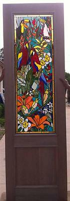 Custom Stained Glass Door With Parrots And Mahogany Wood - An6