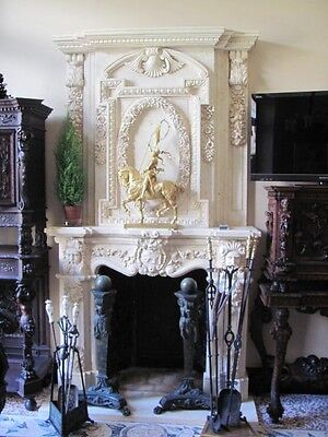 Hand Carved Marble Egypt Cream Fireplace Mantel Fpm613