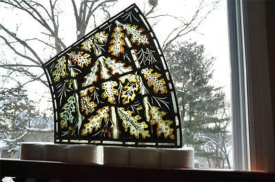 Nice Anique Pair Of Antique Stained Glass Windows With Leaves - Jrpa47854