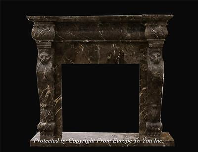 Beautiful Rare Coffee Hand Carved Marble Estate Fireplace Mantel - Tle9