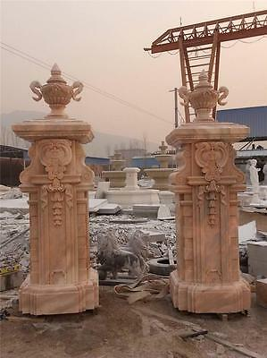 Hand Carved Marble Estate Custom Made Driveway Pillars - Cp56