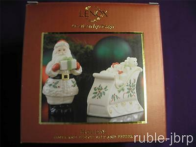 "LENOX AMERICAN by DESIGN HOLIDAY "" SANTA & SLEIGH SALT AND PEPPER SET NEW IN BOX"