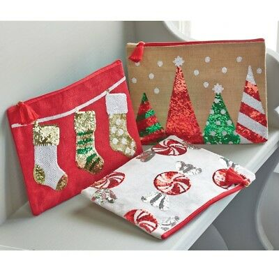 Mud Pie CHRISTMAS Holiday Dazzle Sequin Jute Clutch Cosmetic Case Carry-All Bag