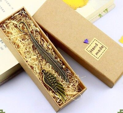 Hand made metal old classical feather bookmark Business gifts