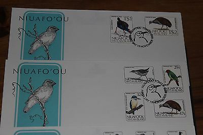 Niuafo Ou 1983 Birds Set Of 15 On 4 First Day Covers  Fine